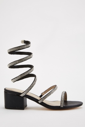 Encrusted Spiral Block Heel Sandals