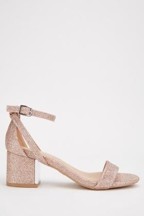 Lurex Block Heel Sandals