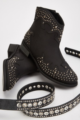 Multi Studded Western Style Boots