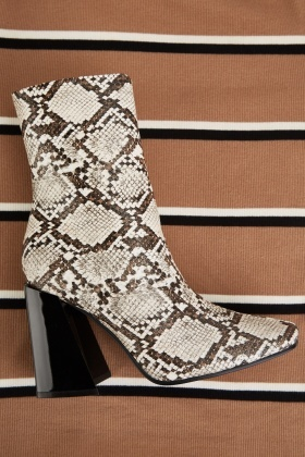 Python Skin Textured Ankle Boots