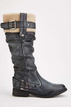 Ruched Borg Trim Winter Boots