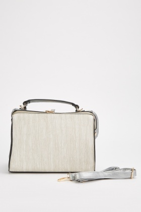 Textured Metallic Frame Bag