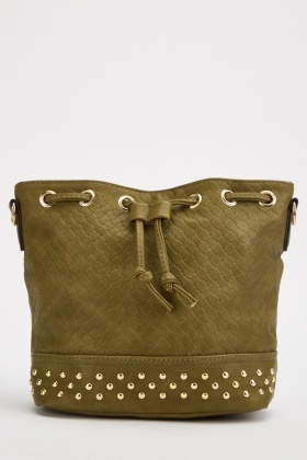 Textured Studded Drawstring Bag