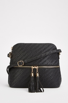 Weave Pattern Tassel Trim Bag