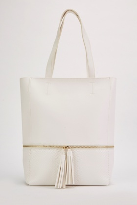 Zipper Tassel Trim Tote Bag