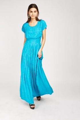 Box Pleated Embroidred Maxi Dress