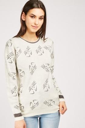 Cat Pattern Knit Sweater