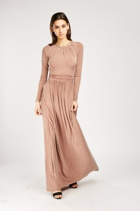 Gold Plated Chain Trim Maxi Dress