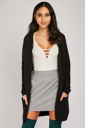 Ribbed Long Line Knit Cardigan