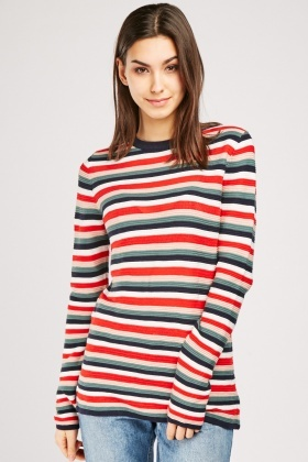 Ribbed Multi Stripe Knit Jumper