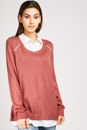 Shirt Underlay Knit Jumper