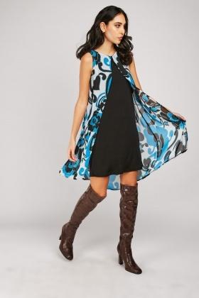 Slit Front Retro Print Dress