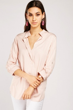 Slit Front Striped Blouse