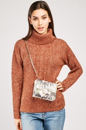 Speckled Cable Knit Roll Neck Jumper