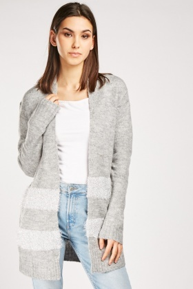 Tinsel Striped Panel Knit Cardigan