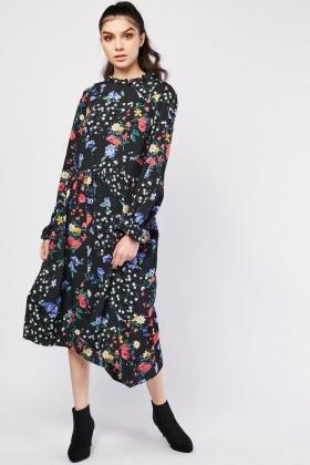 Vintage Flower Print Midi Dress