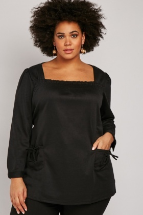 Gathered Front Square Smock Blouse