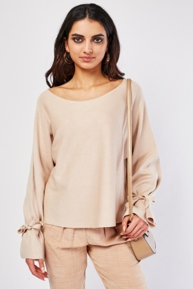 Scoop Neck Ribbed Knit Sweater