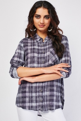 Single Pocket Front Plaid Shirt