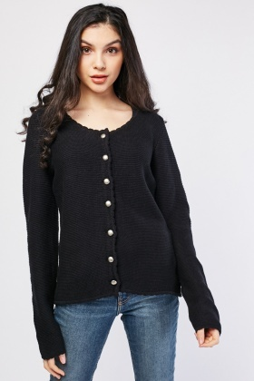 Scallop Hem Textured Knit Cardigan
