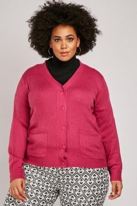 Twin Pocket Front Plain Knit Cardigan