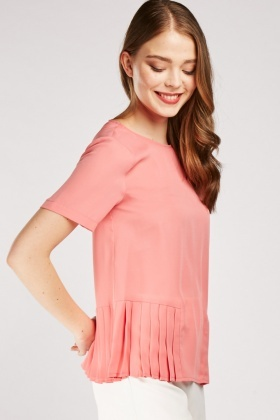 Pleated Hem Chiffon Top