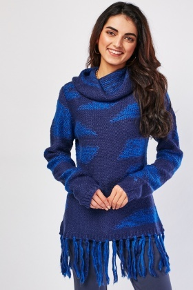 Fringed Hem Roll Neck Jumper