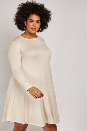 Long Sleeve Flared Speckled Dress