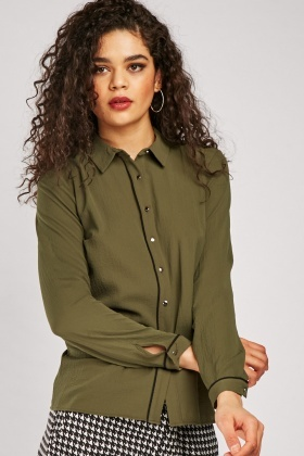 Piping Trim Chiffon Shirt