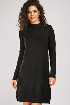 Plain Knit Jumper Dress