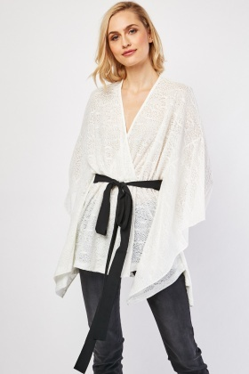 Belted Lace Kaftan Top