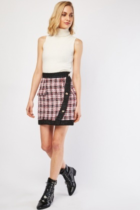 Decorative Button Trim Tweed Skirt