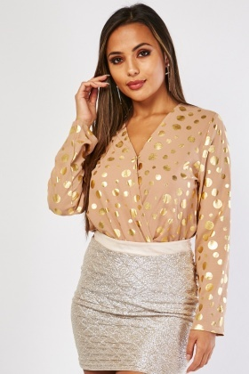 Metallic Polka Dot Bodysuit