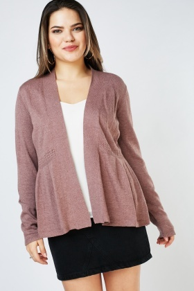 Open Front Perforated Panel Cardigan