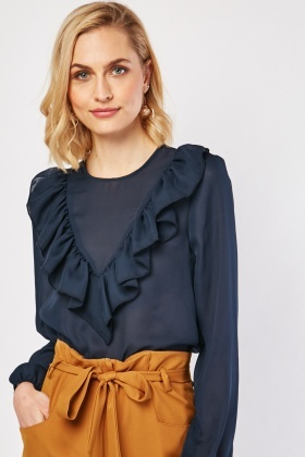 Ruffle Panel Sheer Chiffon Blouse