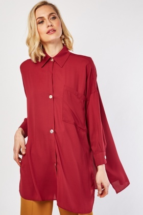 Sheer Oversized Chiffon Shirt