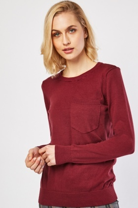 Single Pocket Front Knit Sweater