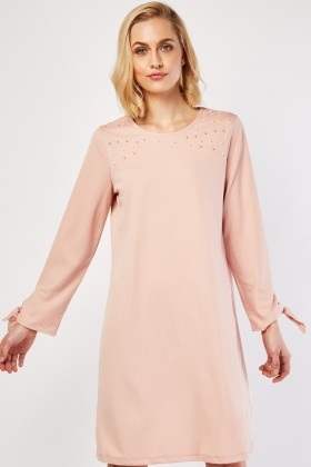 Tie Up Sleeve Hem Shift Dress
