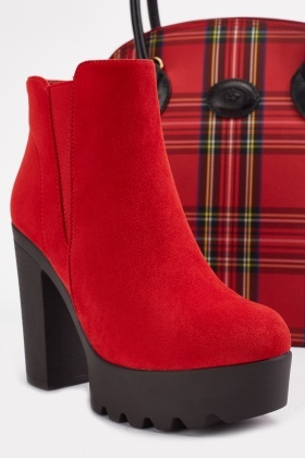 Chunky Red Suedette Ankle Boots