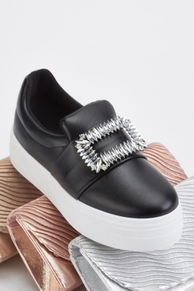 Encrusted Detail Slip On Shoes