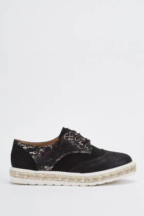 Metallic Brogue Platform Shoes
