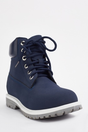 Navy Suedette Lace Up Boots - Just $6