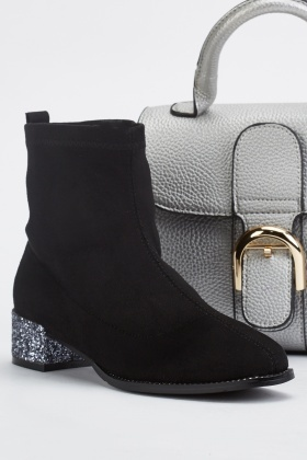 Suedette Glittery Heeled Ankle Boots