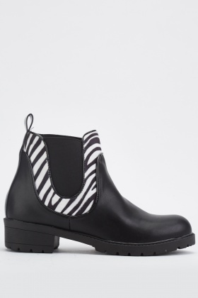 Zebra Print Panel Ankle Boots