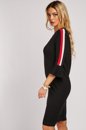 Bell Sleeve Stripe Panel Midi Dress $3.30