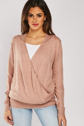 Draped Wrap Knit Top