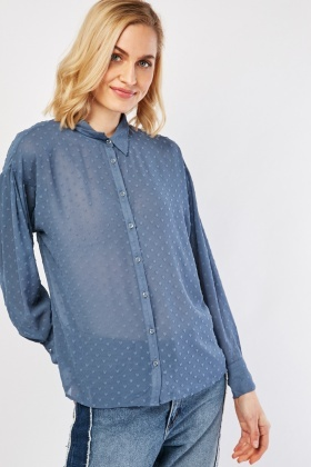 Textured Sheer Chiffon Shirt