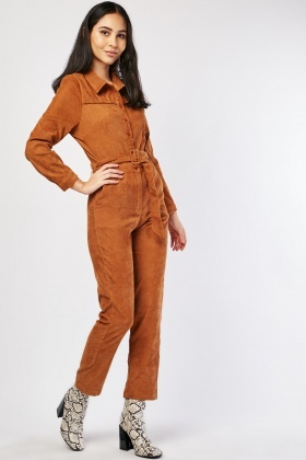 Belted Brown Corduroy Jumpsuit