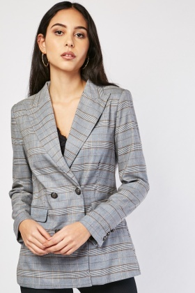 Glen Check Double Breasted Blazer