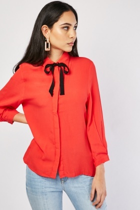 Tie Up Neck Sheer Shirt